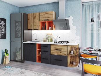 Кухня Крафт модульная бетон-дуб вотан